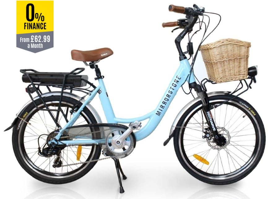 "Vintage Dutch Style Electric Bike Sky Blue 26"" Wheels"