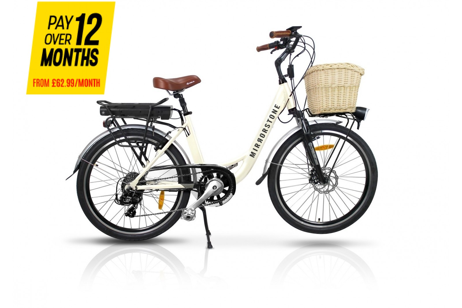 "Sprint Electric Bike Milky White 24"" Wheels"