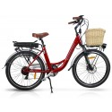 "Vintage Dutch Style Electric Bike Cherry Red 26"" Wheels"
