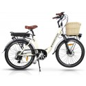 "Vintage Dutch Style Electric Bike Milky White 26"" Wheels"