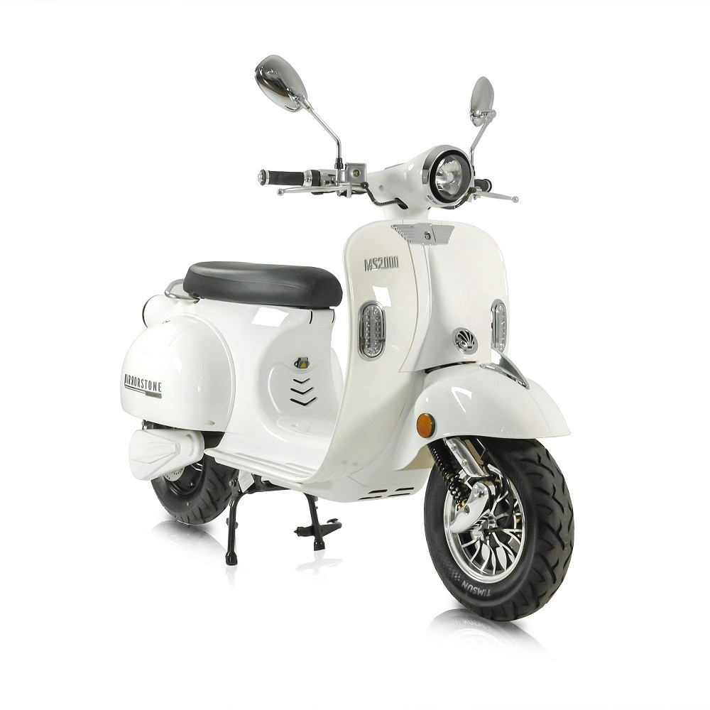 MS2000 White Vintage Electric Scooter 50cc Equivalent (While Stocks Last)