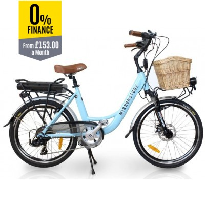 "Vintage Dutch Style Electric Bike Sky Blue 26"" Wheels - Limited Stock Available!"