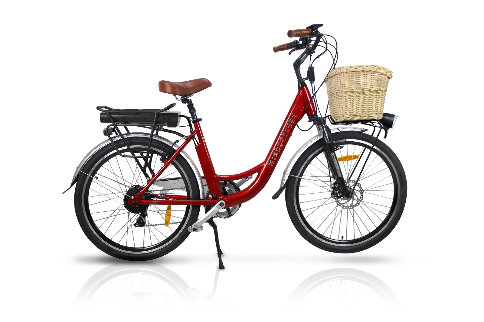 dutch style vintage electric bike cherry red 26 wheels. Black Bedroom Furniture Sets. Home Design Ideas